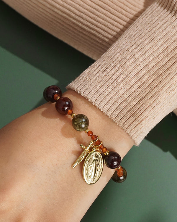 Tricolor Garnet Rosary Bracelet 10mm - Gaea | Crystal Jewelry & Gemstones (Manila, Philippines)