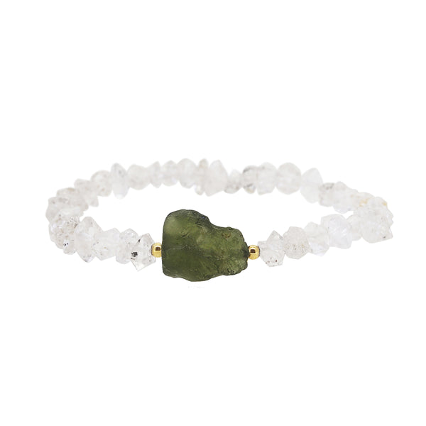 Raw Moldavite with Herkimer Diamond - Gaea | Crystal Jewelry & Gemstones (Manila, Philippines)