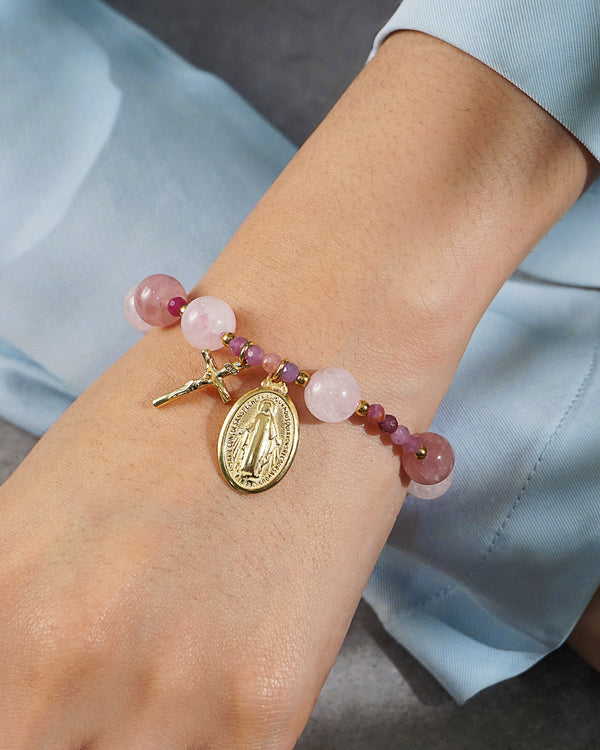 Madagascar Rose Quartz, Morganite, and Ruby Rosary Bracelet 10mm - Gaea | Crystal Jewelry & Gemstones (Manila, Philippines)