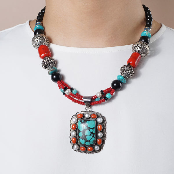 Hypersthene, Coral, Turquoise and Pearl - Gaea | Crystal Jewelry & Gemstones (Manila, Philippines)