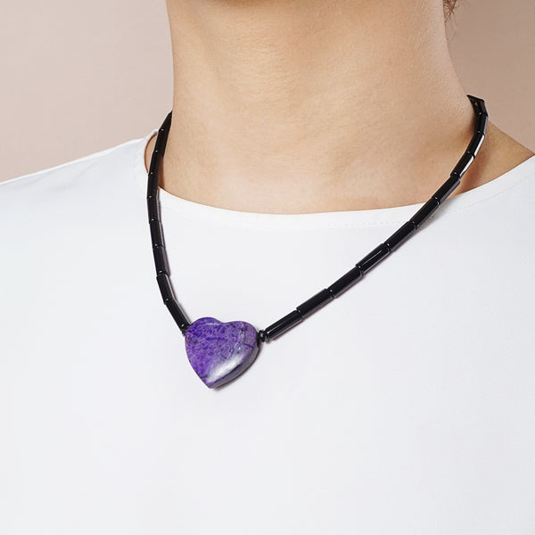 Sugilite Heart with Black Agate - Gaea | Crystal Jewelry & Gemstones (Manila, Philippines)