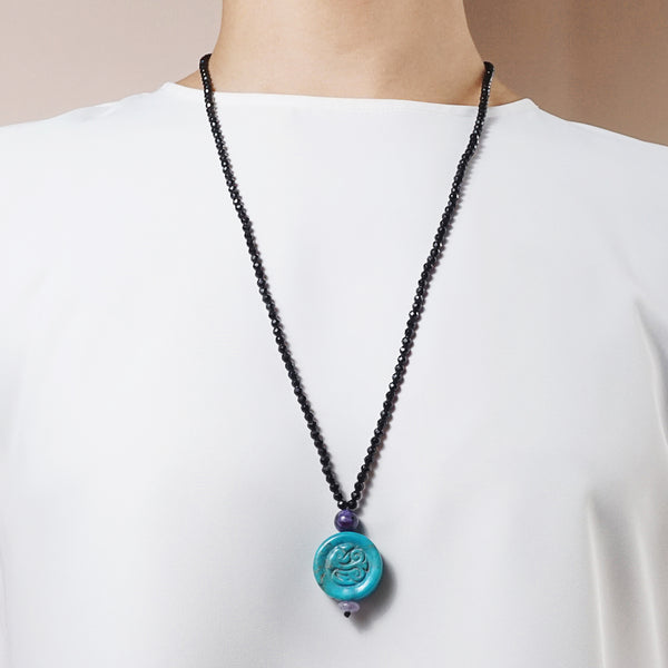 Carved Turquoise with Black Tourmaline - Gaea | Crystal Jewelry & Gemstones (Manila, Philippines)
