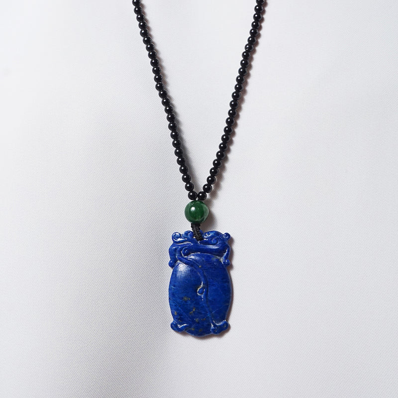 Carved Lapis Lazuli with Canadian Jade and Black Tourmaline - Gaea | Crystal Jewelry & Gemstones (Manila, Philippines)
