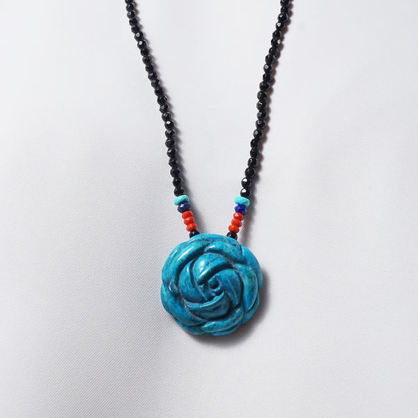 Carved Blue Howlite with Coral, Lapis Lazuli and Black Tourmaline - Gaea | Crystal Jewelry & Gemstones (Manila, Philippines)