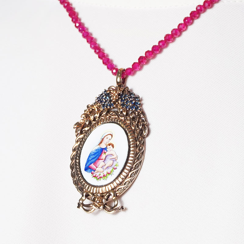 Madonna and Child Enamel with A-Grade Blue Sapphire on Rhodium Medallion - Gaea | Crystal Jewelry & Gemstones (Manila, Philippines)