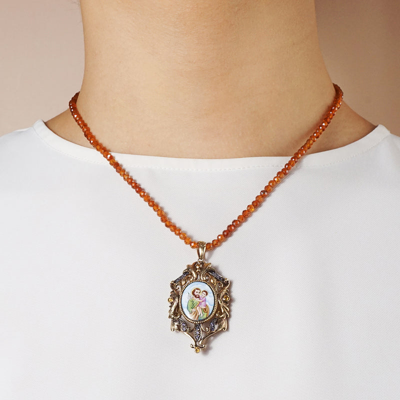 St. Joseph Enamel with A-Grade Citrine and Iolite Medallion - Gaea | Crystal Jewelry & Gemstones (Manila, Philippines)