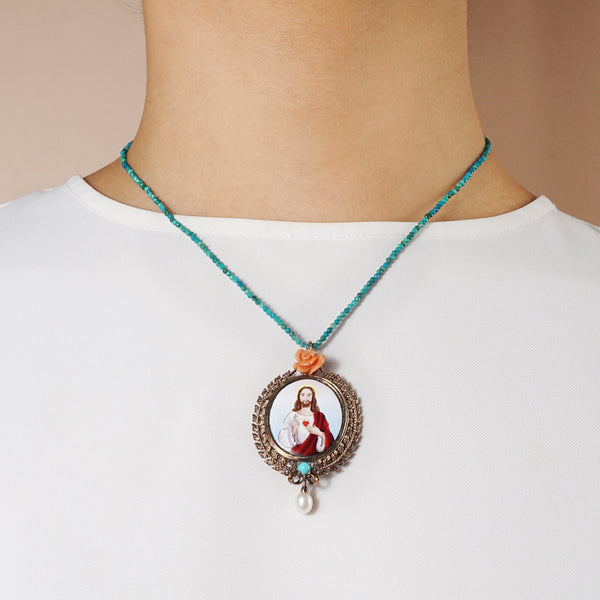 Sacred Heart Enamel with Italian Coral, Turquoise and Freshwater Pearl Medallion (M) - Gaea | Crystal Jewelry & Gemstones (Manila, Philippines)