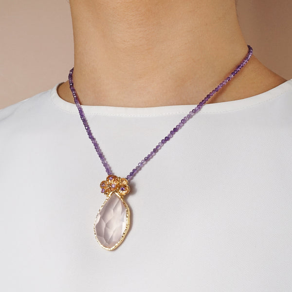 A-Grade Rose Quartz with Amethyst - Gaea | Crystal Jewelry & Gemstones (Manila, Philippines)