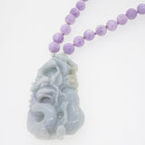 Carved Burma Jade Pendant with Lilac Amethyst - Gaea | Healing Crystals and Gemstone Jewelry (Manila, Philippines)