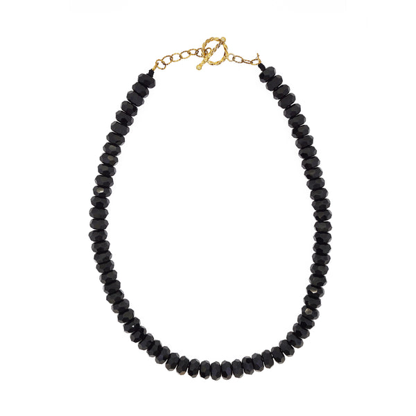 Black Spinel Faceted Rondelle - Gaea