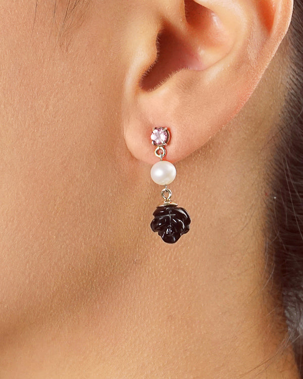 Black Onyx Florette with Freshwater Pearl and Pink Topaz