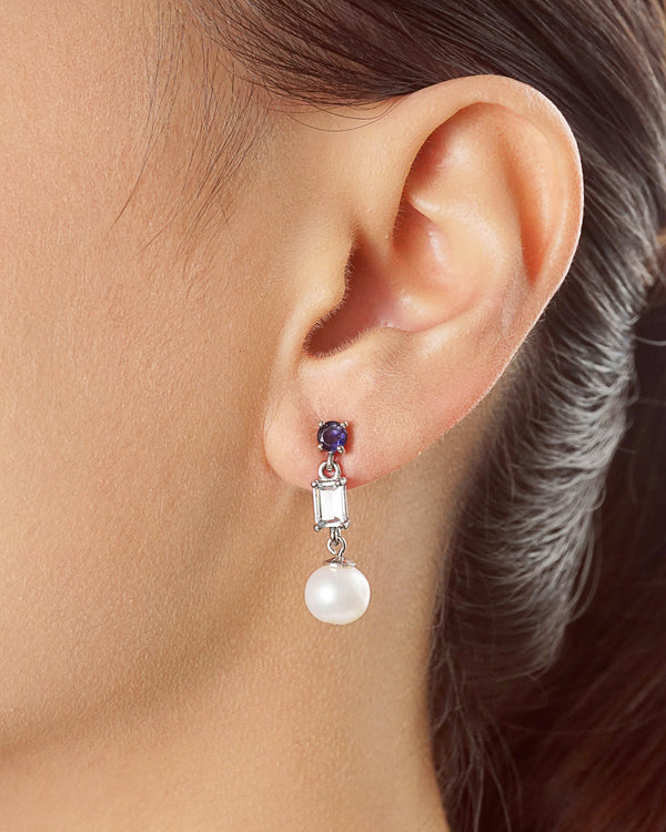 Freshwater Pearl with Iolite and Aquamarine (M)