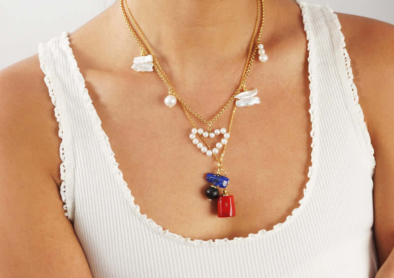 Red Coral, Lapis Lazuli, and Black Onyx - Gaea | Crystal Jewelry & Gemstones (Manila, Philippines)