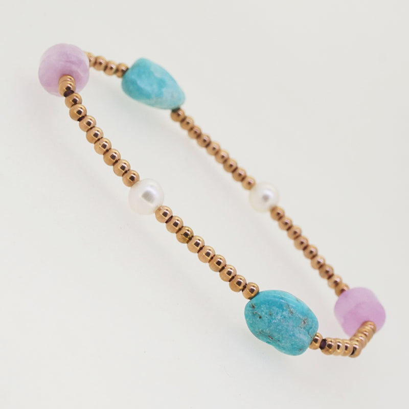 Turquoise, Kunzite, and Freshwater Pearl