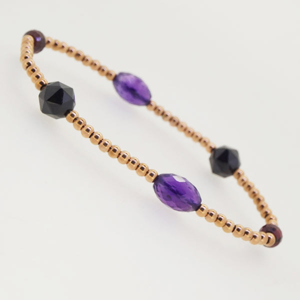 Amethyst, Almandine Garnet, and Black Spinel