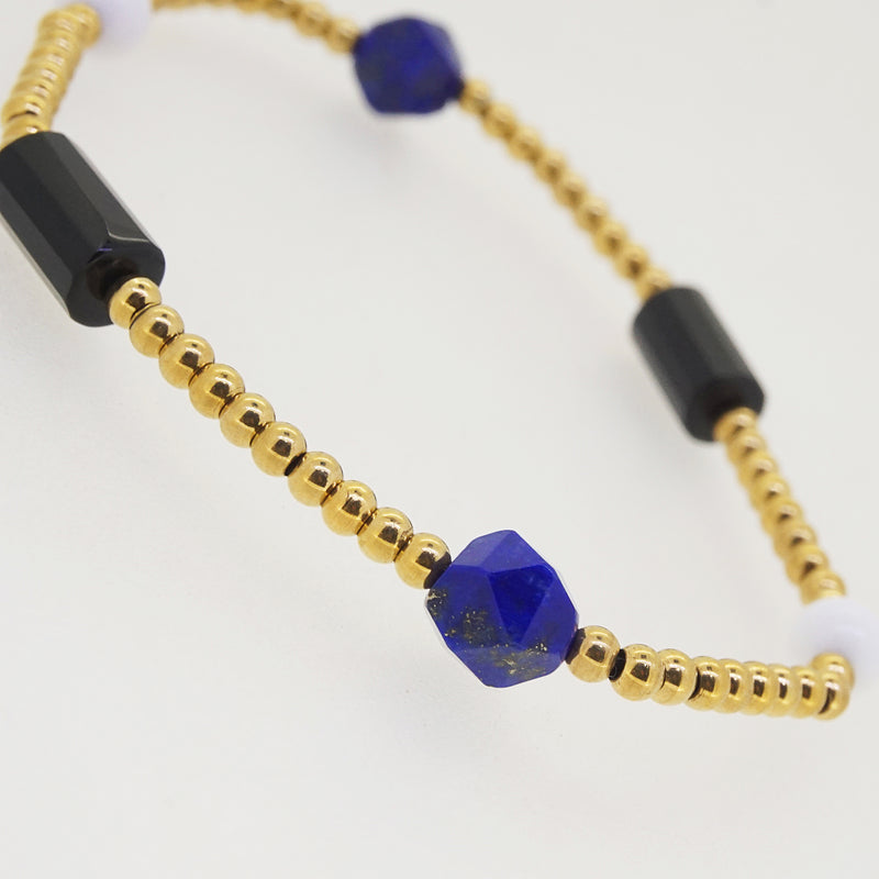 Black Onyx, White Agate, and Lapis Lazuli