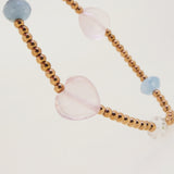 Rose Quartz, Aquamarine, and Rainbow Moonstone