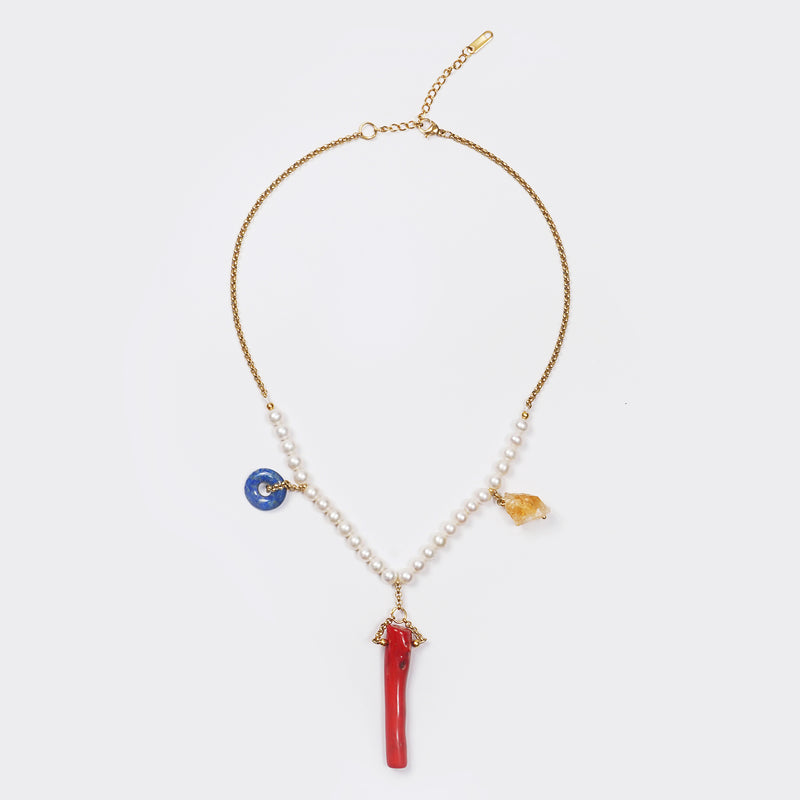 Freshwater Pearl, Citrine, Red Coral, and Lapis Lazuli - Gaea | Crystal Jewelry & Gemstones (Manila, Philippines)