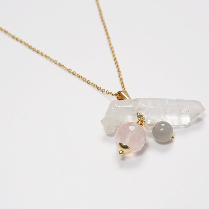 Clear Quartz, Rose Quartz, Gray Moonstone, and Freshwater Pearl - Gaea | Crystal Jewelry & Gemstones (Manila, Philippines)