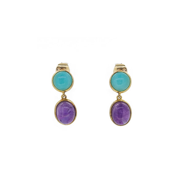 Amazonite and Amethyst Drop - Gaea | Healing Crystals and Gemstone Jewelry (Manila, Philippines)