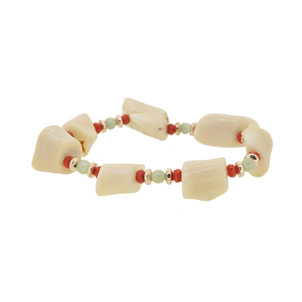 Japanese Ivory Coral with Burma Jade and Hematite - Gaea | Crystal Jewelry & Gemstones (Manila, Philippines)