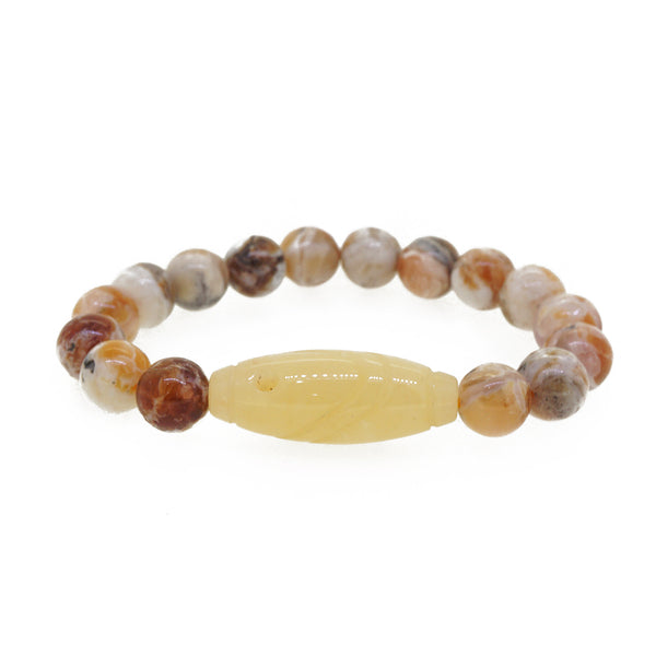 Orange Brandy Opal with Carved Yellow Calcite - Gaea | Crystal Jewelry & Gemstones (Manila, Philippines)