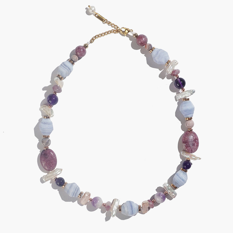 Blue Lace Chalcedony, Lepidolite, Amethyst, Pearl, Plated Hematite