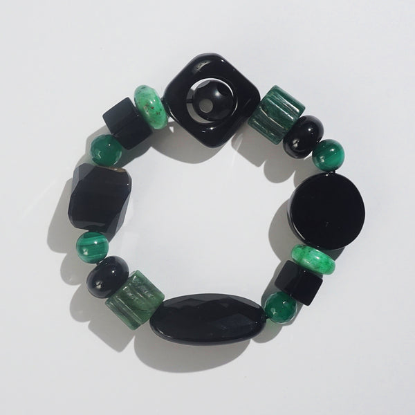 Black Onyx, Malachite, and Green Jasper Mixed Gemstones