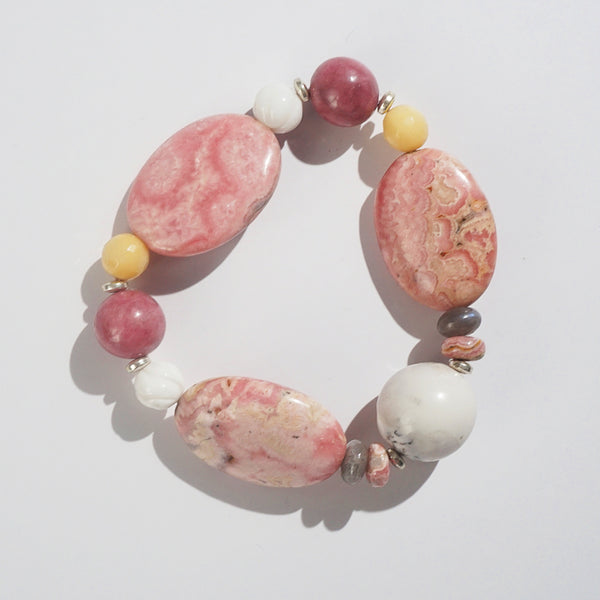 Rhodochrosite, Dendritic Agate, and Yellow Calcite Mixed Gemstones