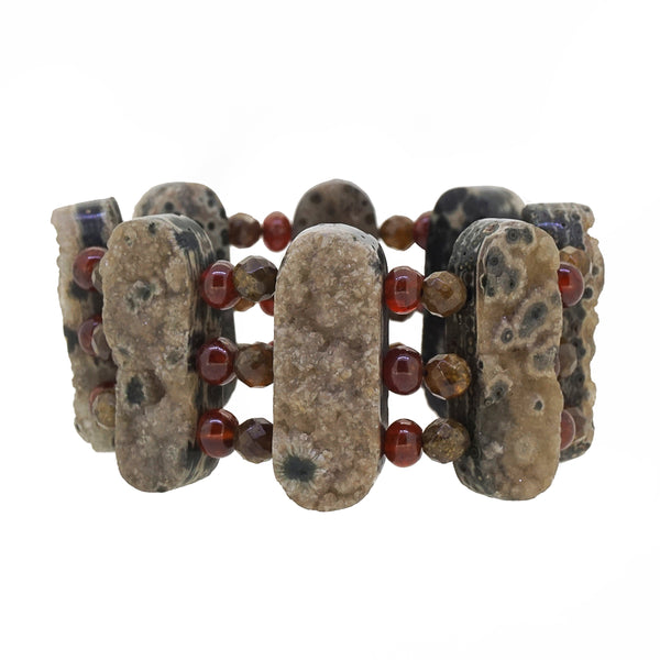 Ocean Jasper, Hessonite Garnet, and African Green Garnet Raw Cuff - Gaea | Crystal Jewelry & Gemstones (Manila, Philippines)