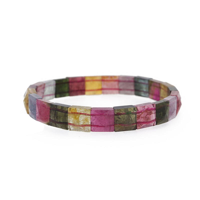 AA-Grade Multicolored Tourmaline Square Faceted Bangle (M)
