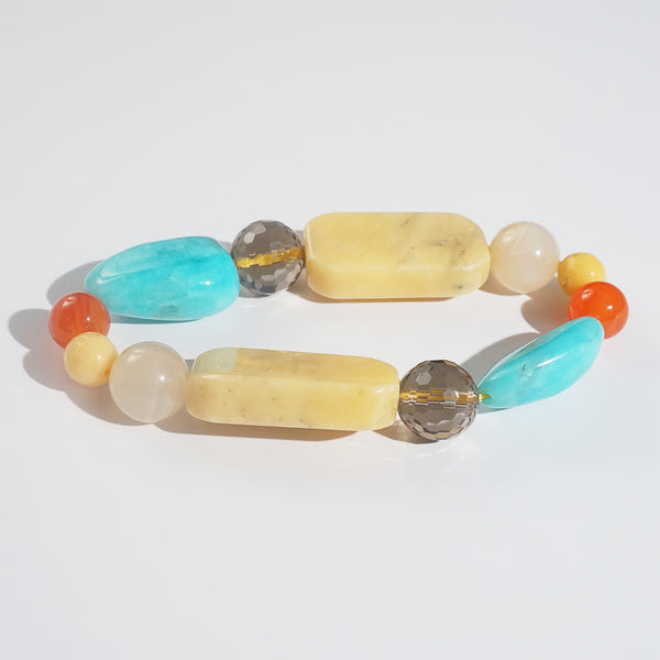 Yellow Calcite, Amazonite, and Smoky Quartz Mixed Gemstones