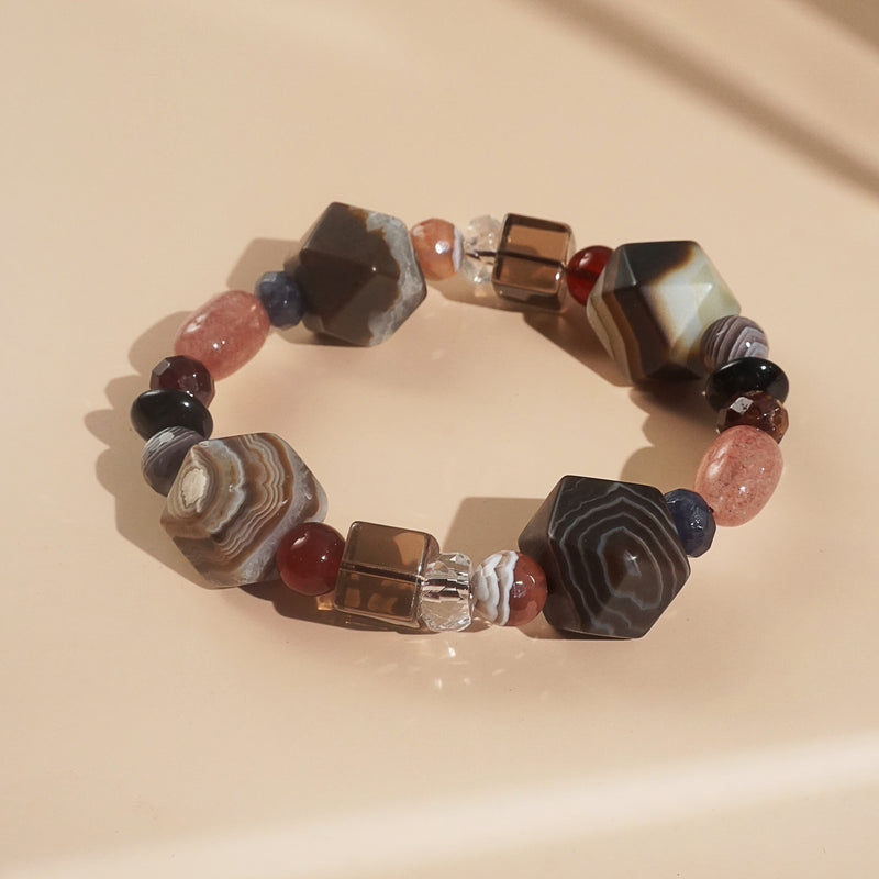 Agate, Muscovite, and Black Onyx Mixed Gemstones