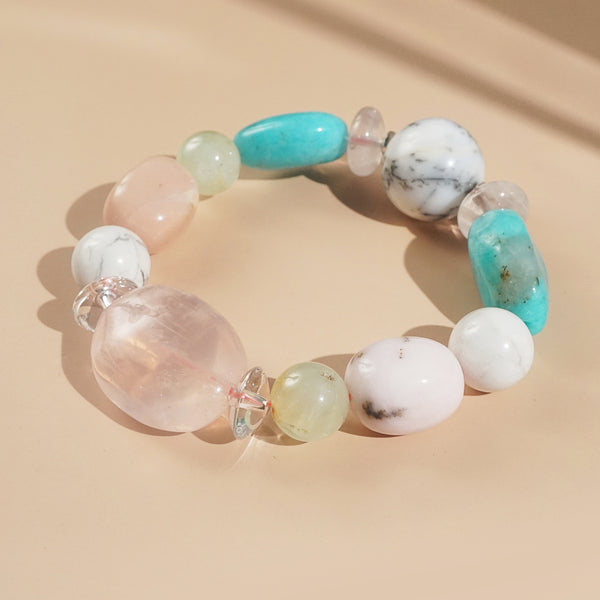 Rose Quartz, Pink Opal, and Amazonite Mixed Gemstones