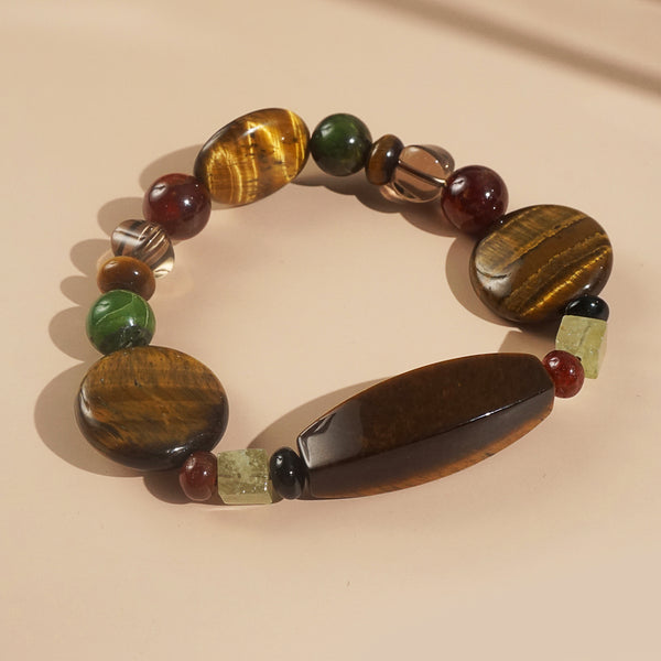 Tiger Eye, Hessonite Garnet, and Smoky Quartz Mixed Gemstones
