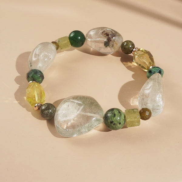 Phantom Quartz, Ruby Zoisite, and Lemon Quartz Mixed Gemstones