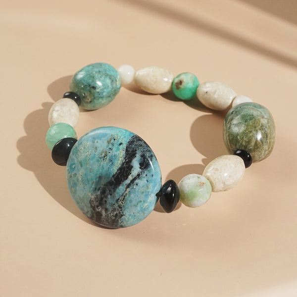 African Blue Opal, Ivory Amazonite, and Black Onyx Mixed Gemstones