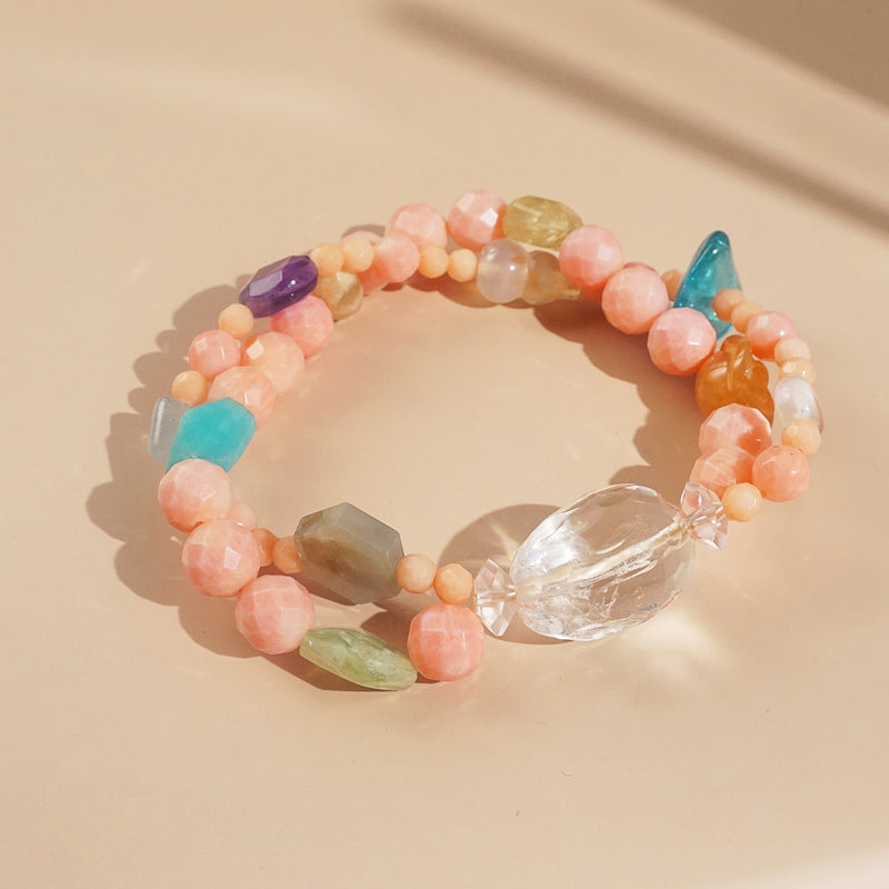 Peach Coral, Turquoise, and Amethyst Mixed Gemstones