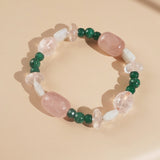 Rose Quartz, Malachite, and Rainbow Moonstone Mixed Gemstones