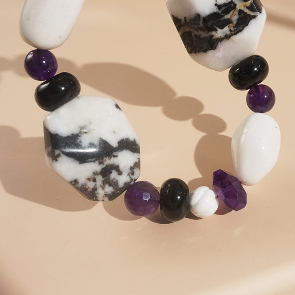 Zebra Jasper, Black Onyx, and Amethyst and Mixed Gemstones
