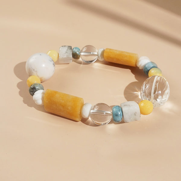 Yellow Calcite, Clear Quartz, and White Agate Mixed Gemstones