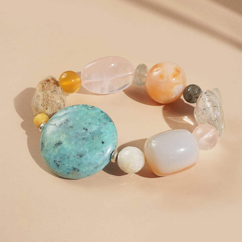 African Blue Opal, Carnelian, and Rose Quartz Mixed Gemstones