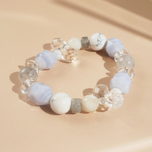 Blue Lace Chalcedony, Clear Quartz, and Labradorite Mixed Gemstones