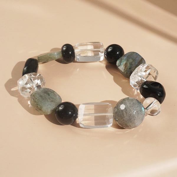 Labradorite, Black Onyx, and Clear Quartz Mixed Gemstones