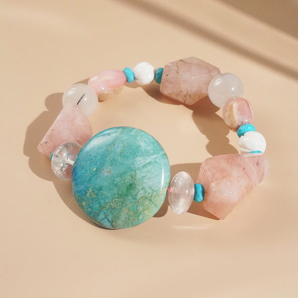 African Blue Opal, Morganite, and Turquoise Mixed Gemstones