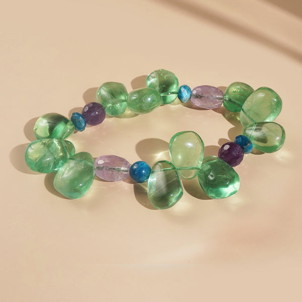 Green Fluorite, Amethyst, and Madagascar Apatite Mixed Gemstones