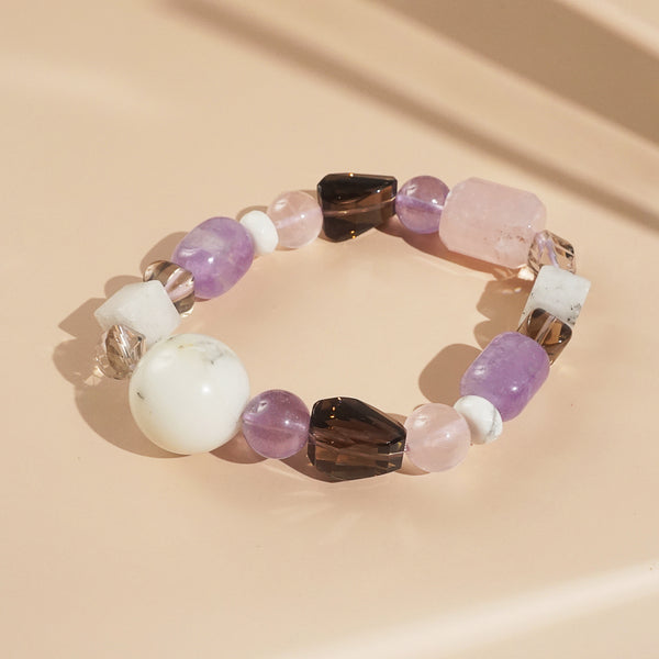Rose Quartz, Amethyst, Dendritic Agate Mixed Gemstones