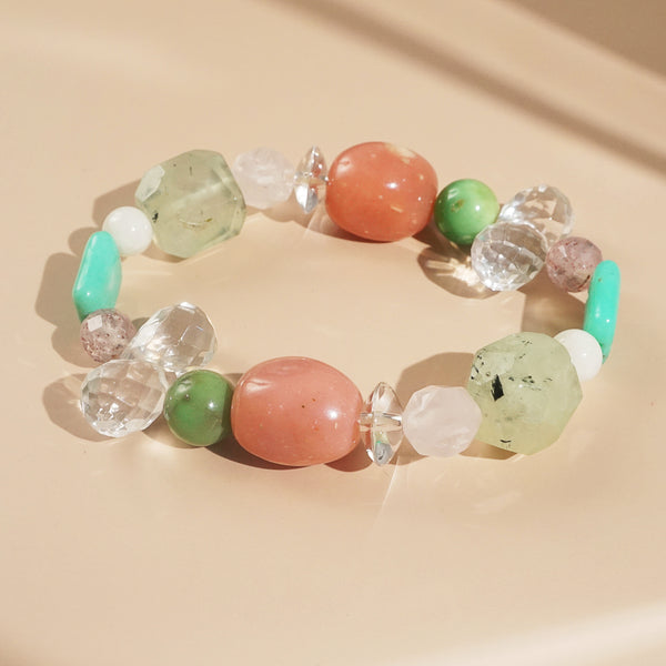 Pink Opal, Prehnite, and Clear Quartz Mixed Gemstones
