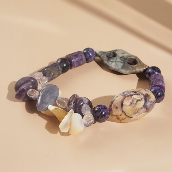 Tiffany Stone, Charoite, Jasper, and Moonstone Mixed Gemstones