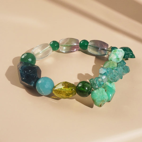 Apatite, Chrysoprase, and Rainbow Fluorite Mixed Gemstones
